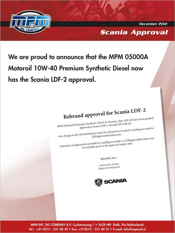 MPM 05000A with Scania LDF-2 approval | News | MPM Oil